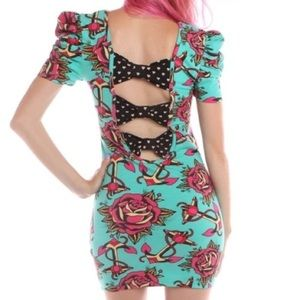 Iron Fist Love Me Not Pinup Sailor Dress Bow Back